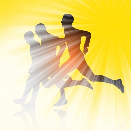 Silhouette of Three runners photo