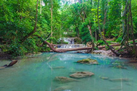 Deep forest Erawan Waterfall, Kanchanaburi, Thailand  photo