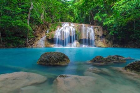 Deep forest Erawan Waterfall, Kanchanaburi, Thailand  photo