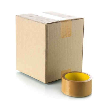 packing tape: Brown cardboard box with packing tape
