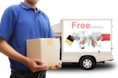 order shipping: Delivery man with free delivery car