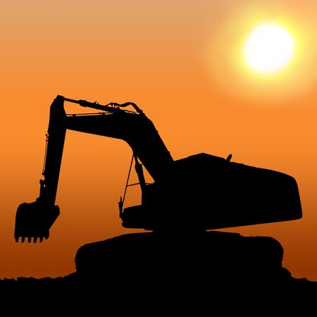 Silhouettes of Excavator photo