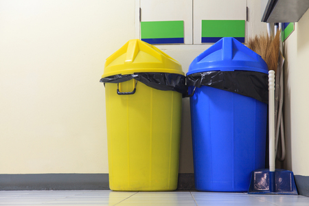 Large yellow and blue trash photo