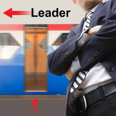 Leader on the sky train station, The concept of Moving forward photo