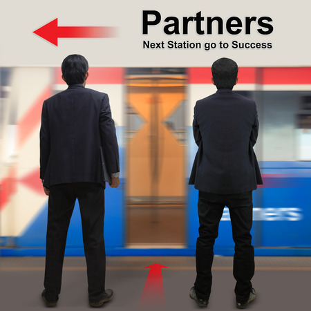 Partners on the sky train station, The concept of Next Station go to Success photo