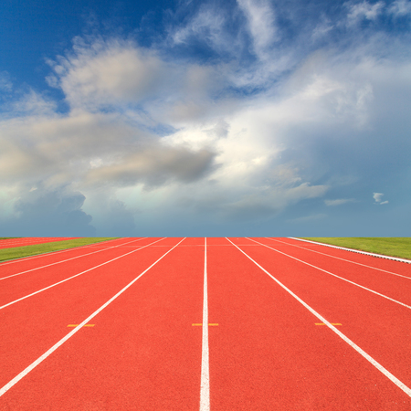 Running track with blue sky photo