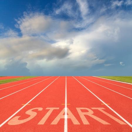 startpunt: Begin op atletiekbaan Stockfoto