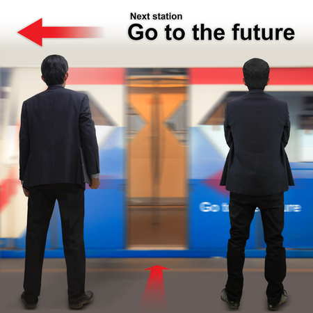 Businessman on the sky train station, The concept of Next station Go to the future  photo