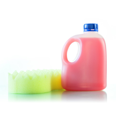 gallons: Gallons bottle of pink liquid with sponge