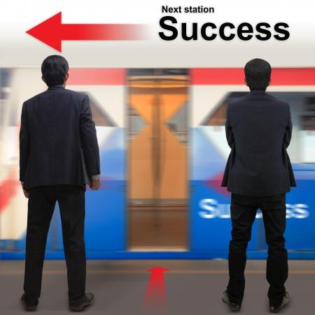 Businessman on the sky train station, The concept of Next station Success photo