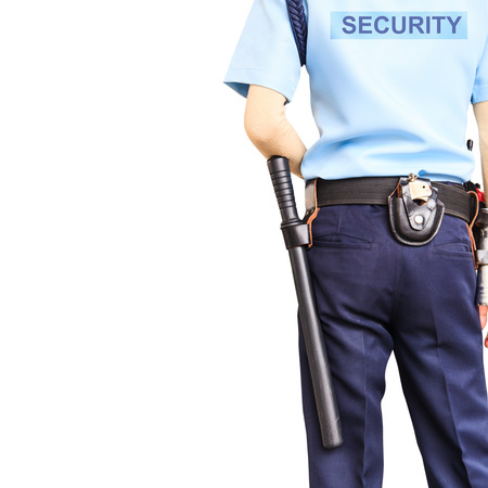 Security guard on white background with clipping path Stock Photo