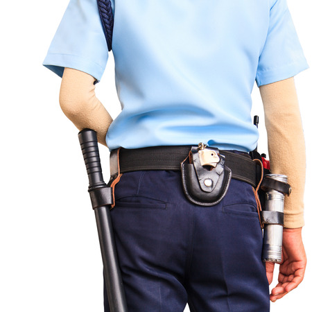 Security guard on white background with clipping path photo