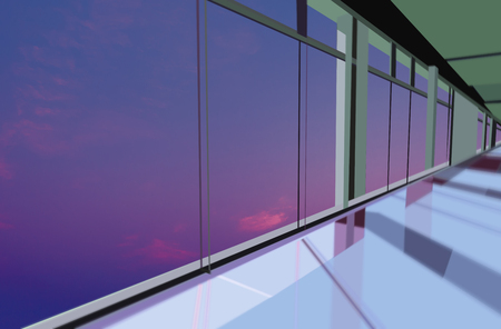 Windows in modern office building at twilight photo