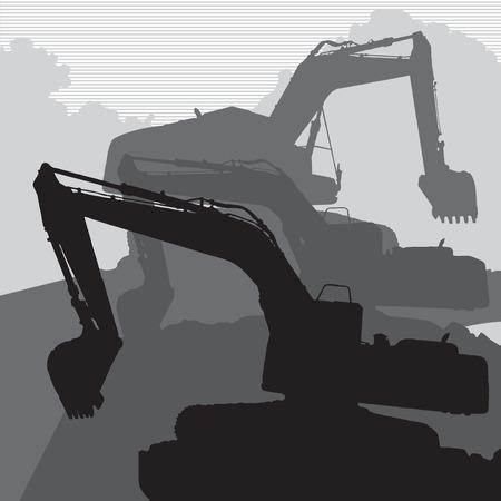 excavating machine: Excavator on construction site Illustration