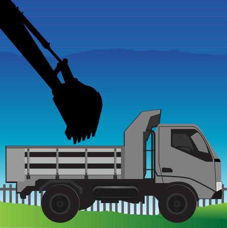 Excavator on construction site loading dumper truck Illustration