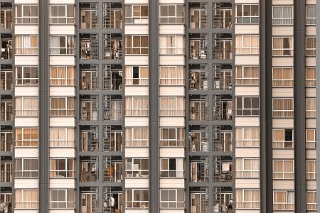 Window of new modern condominium, Building background