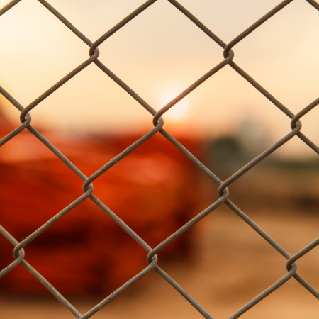 Metal fence at construction site photo