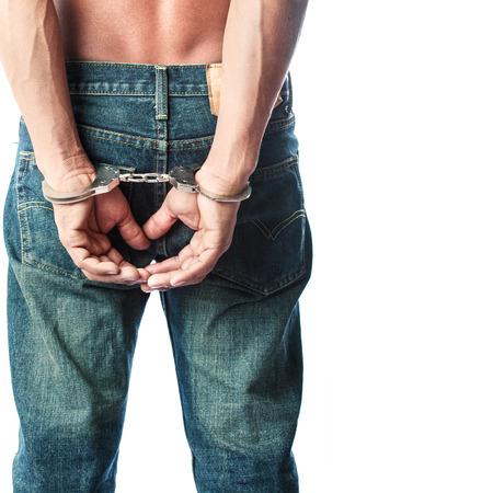Prisoner locked in handcuffs Stock Photo - 24621427
