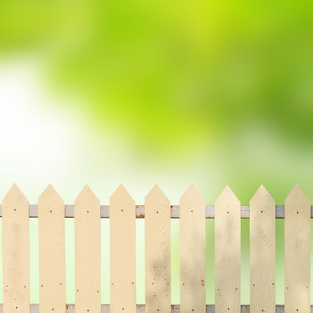 White fences with green leaves background photo