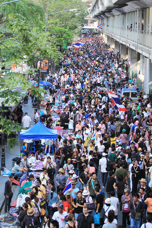 reformation: BANGKOK, THAILAND-JANUARY 14  Unidentified protesters shut down the city or the reformation before election at the Ratchaprasong rd  on January 14, 2014 in Bangkok,Thailand