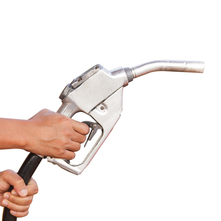 Gasoline fuel on white background photo