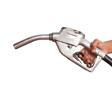 Gasoline fuel on white background photo