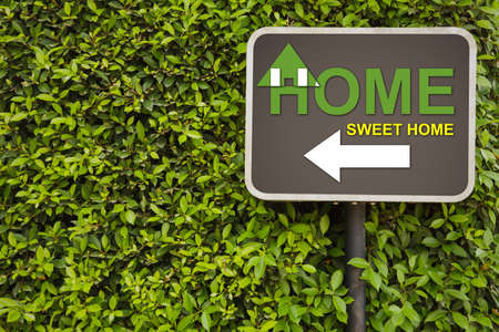 Home sweet home sign on green leaves wall photo