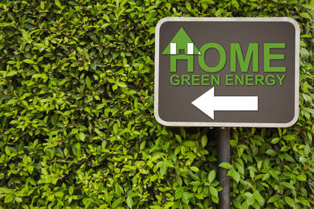 housebuilding: Home green energy sign on green leaves wall