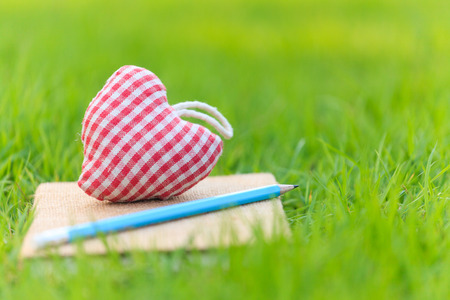 Fabric heart on diary in the park photo