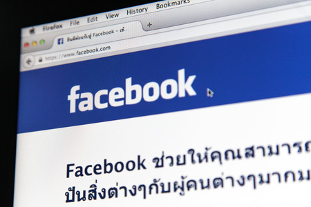 mark zuckerberg: JUNE 2, 2014 - THAILAND  the logo of the brand  Facebook  by Mark Zuckerberg, Thailand  Editorial