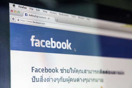 JUNE 2, 2014 - THAILAND  the logo of the brand  Facebook  by Mark Zuckerberg, Thailand