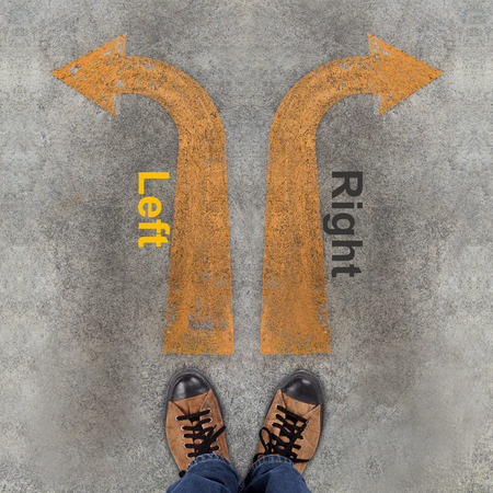 Pair of shoes and two arrows with Left, Right photo