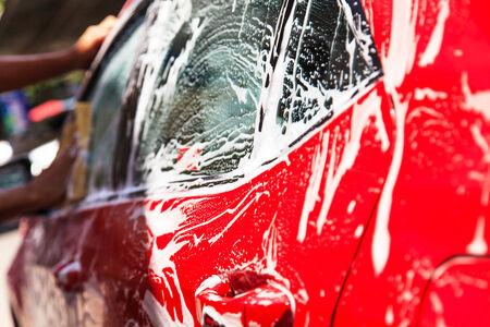 dirty car: Washing car