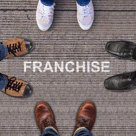 Cuatro pares de zapatos con franquicia Foto de archivo - 30577822