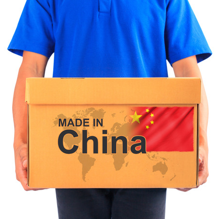 image of a messenger delivering holding a package with made in China photo