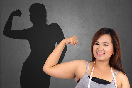 woman shadow: Fat woman and casting slim woman shadow