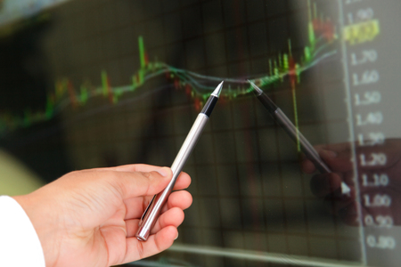 buying stock: Market analyzing, Business charts and markets on display