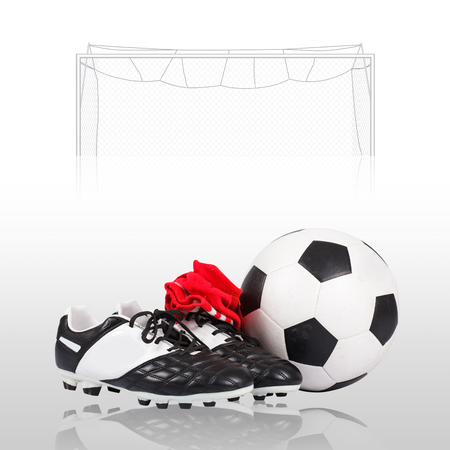 soccer shoes: Soccer ball and soccer shoes Stock Photo