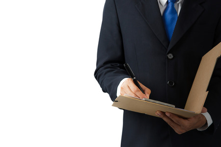 undersign: Businessman working with documents sign up contract on white background Stock Photo