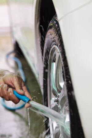 car polish: Cleaning a car Stock Photo