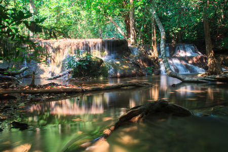 Deep forest Huai Mae Kamin Waterfall, Kanchanaburi, Thailand photo