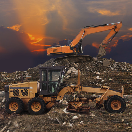 grader: Excavator and grader