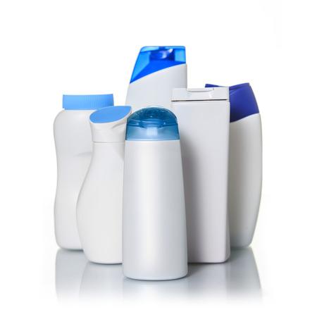 Blank Plastic bottles on a white background Фото со стока