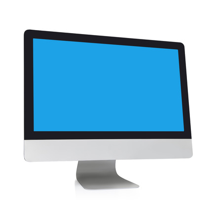 computer screen: Modern flat screen computer monitor on a white background