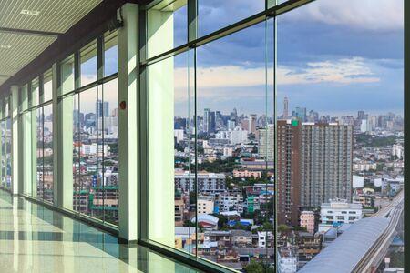view window: Windows in modern office building Stock Photo