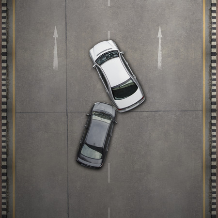 aerial view city: Accident car crash, Aerial view over the road and highway