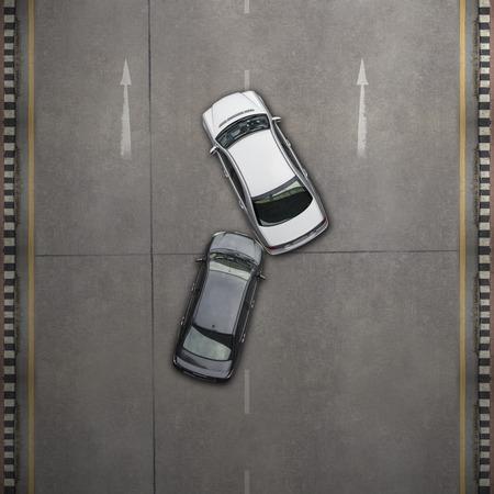 cenital: Accidente de coche accidente, Vista aérea de la carretera y la autopista Foto de archivo