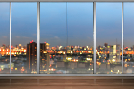office window view: Windows in modern office building Stock Photo