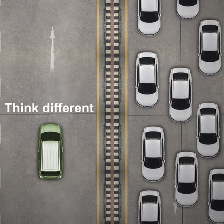 business leadership: Think different concept, Aerial view over the road