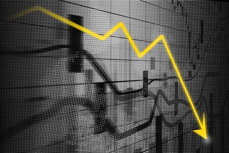 decline: Recession arrow, Graph showing business decline  on led screen Stock Photo